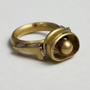 Vintage Modernist Brutalist Handmade Heavy Brass Ring Size 8.75 Abstract 60s/70s